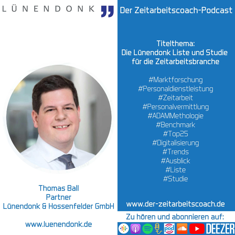 Thomas Ball im Podcast-Interview | Partner bei der Lünendonk & Hossenfelder GmbH | Der Zeitarbeitscoach-Podcast