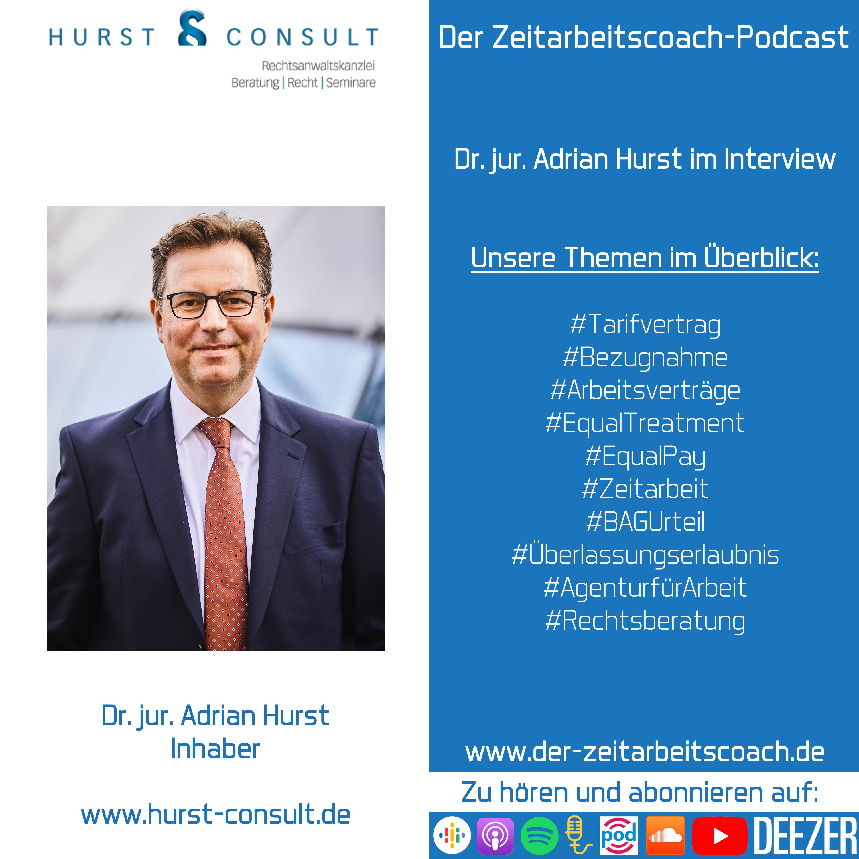Dr. jur. Adrian Hurst im Podcast-Interview | Inhaber der HURST CONSULT | Der Zeitarbeitscoach-Podcast