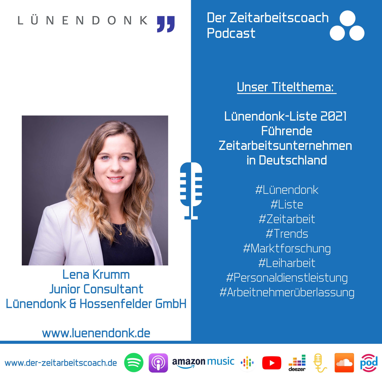 Lünendonk-Liste 2021 | Lena Krumm von der Lünendonk & Hossenfelder GmbH im Zeitarbeitscoach Podcast-Interview