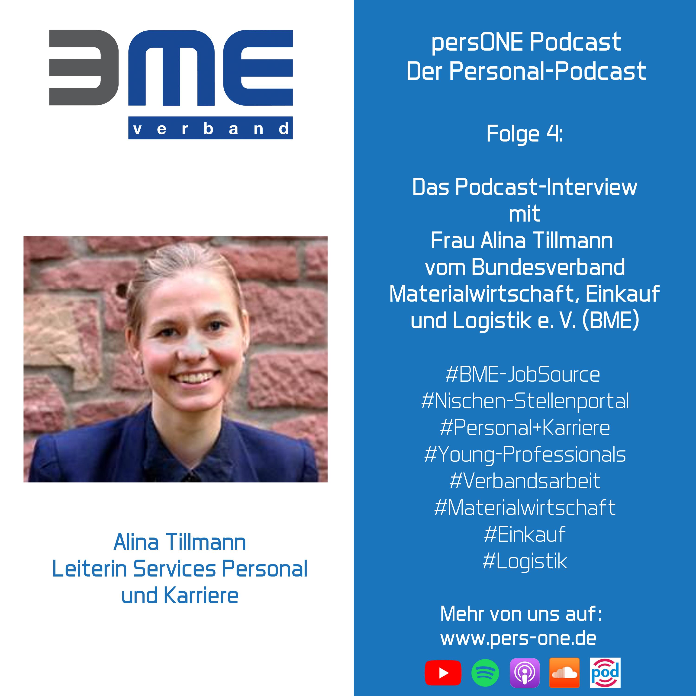 Interview mit Alina Tillmann vom Bundesverband Materialwirtschaft, Einkauf und Logistik e. V. (BME) | persONE Podcast - Der Personal-Podcast